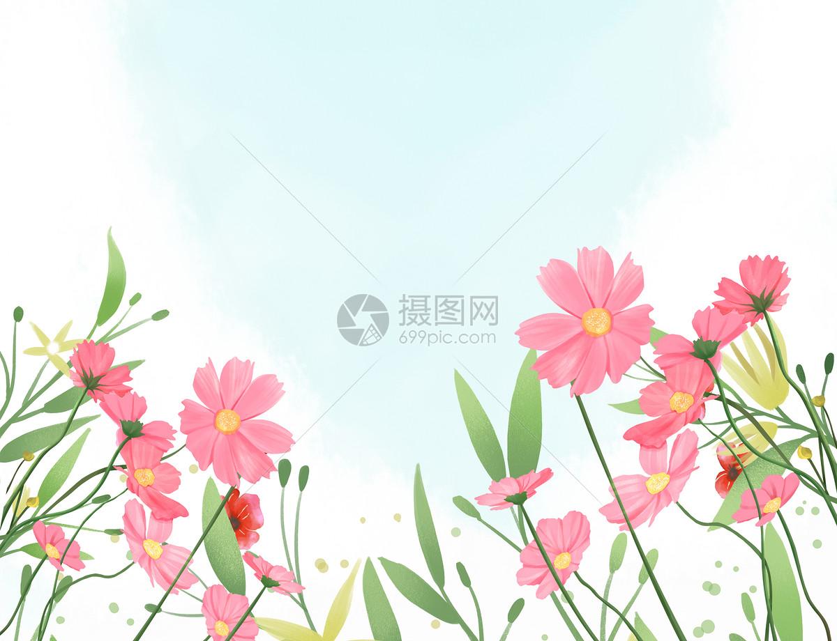 手绘水彩绿叶背景
