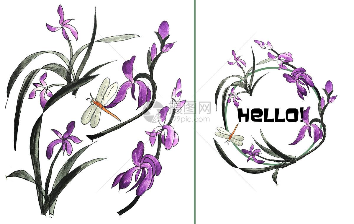 手绘水彩兰花