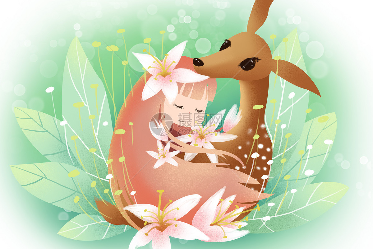 照片 情感表达 春天里的花仙子与小鹿psd  分享: qq好友 微信朋友圈 q