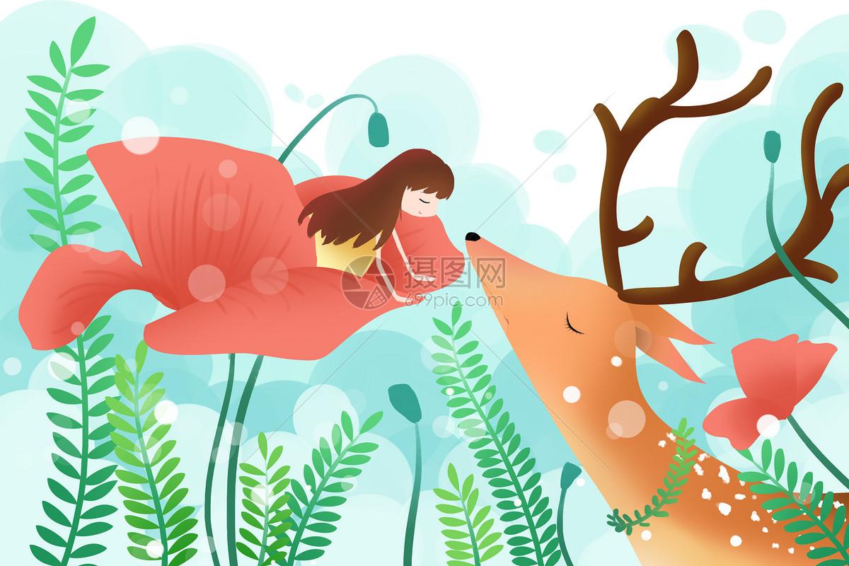 亲吻麋鹿的女孩