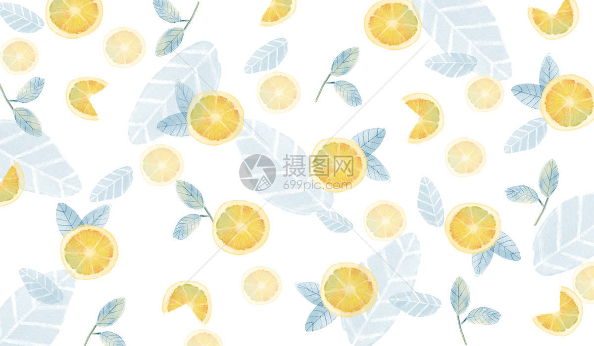 水彩柠檬背景素材