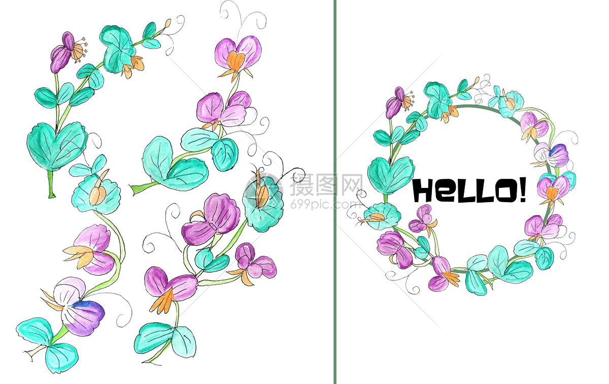 手绘水彩豌豆花