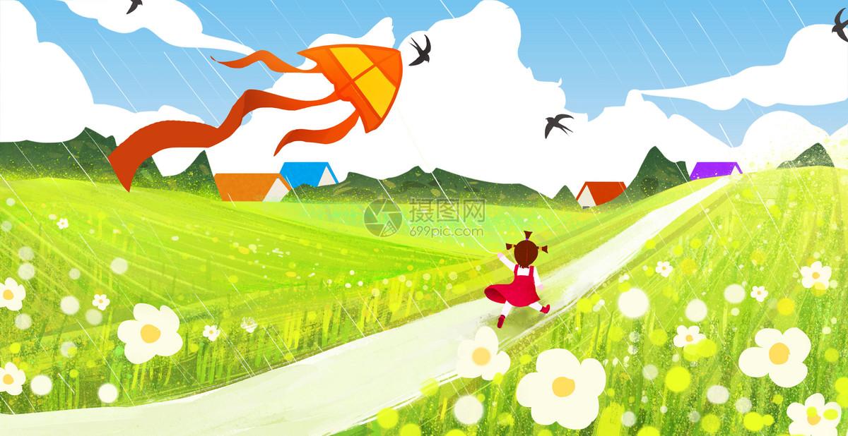 春天放风筝的小女孩
