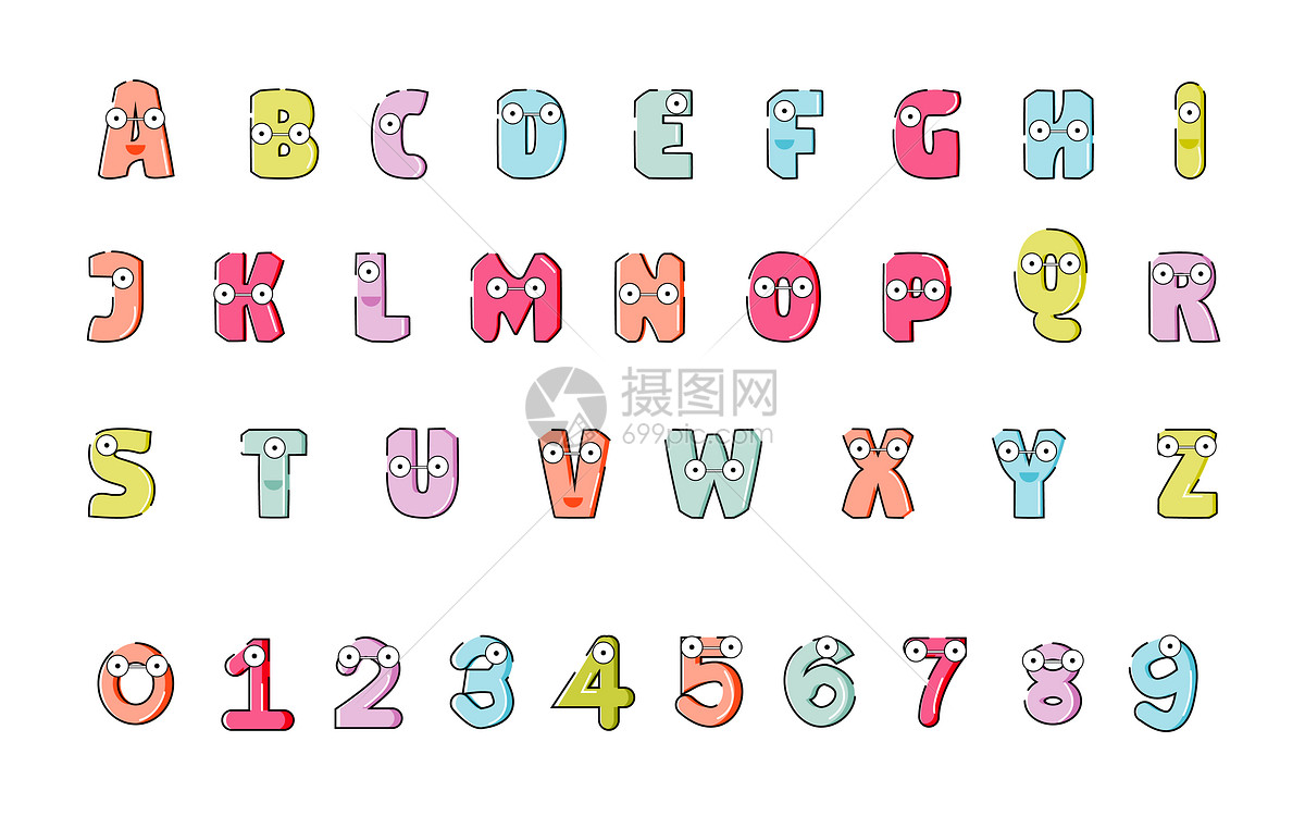 矢量卡通数字字母图片素材_免费下载_ai图片格式_vrf