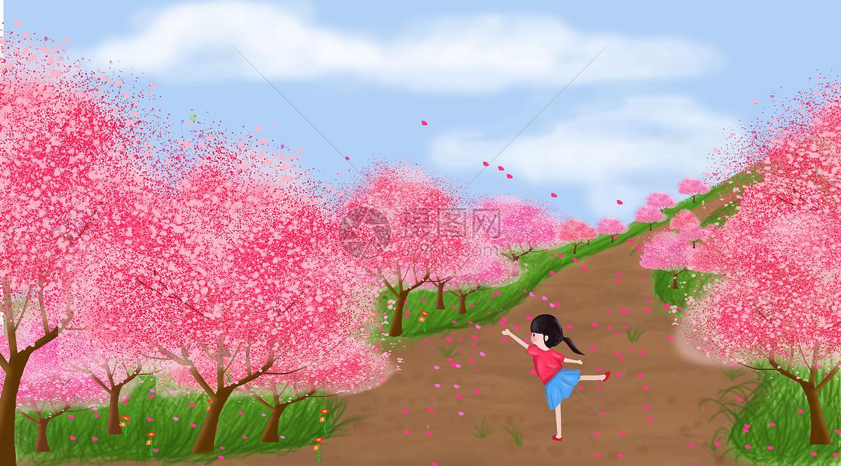 春天桃花林图片