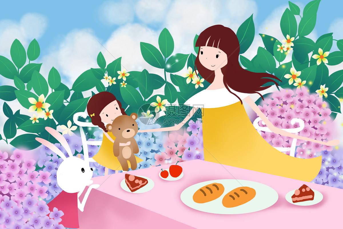春日野餐卡通插画