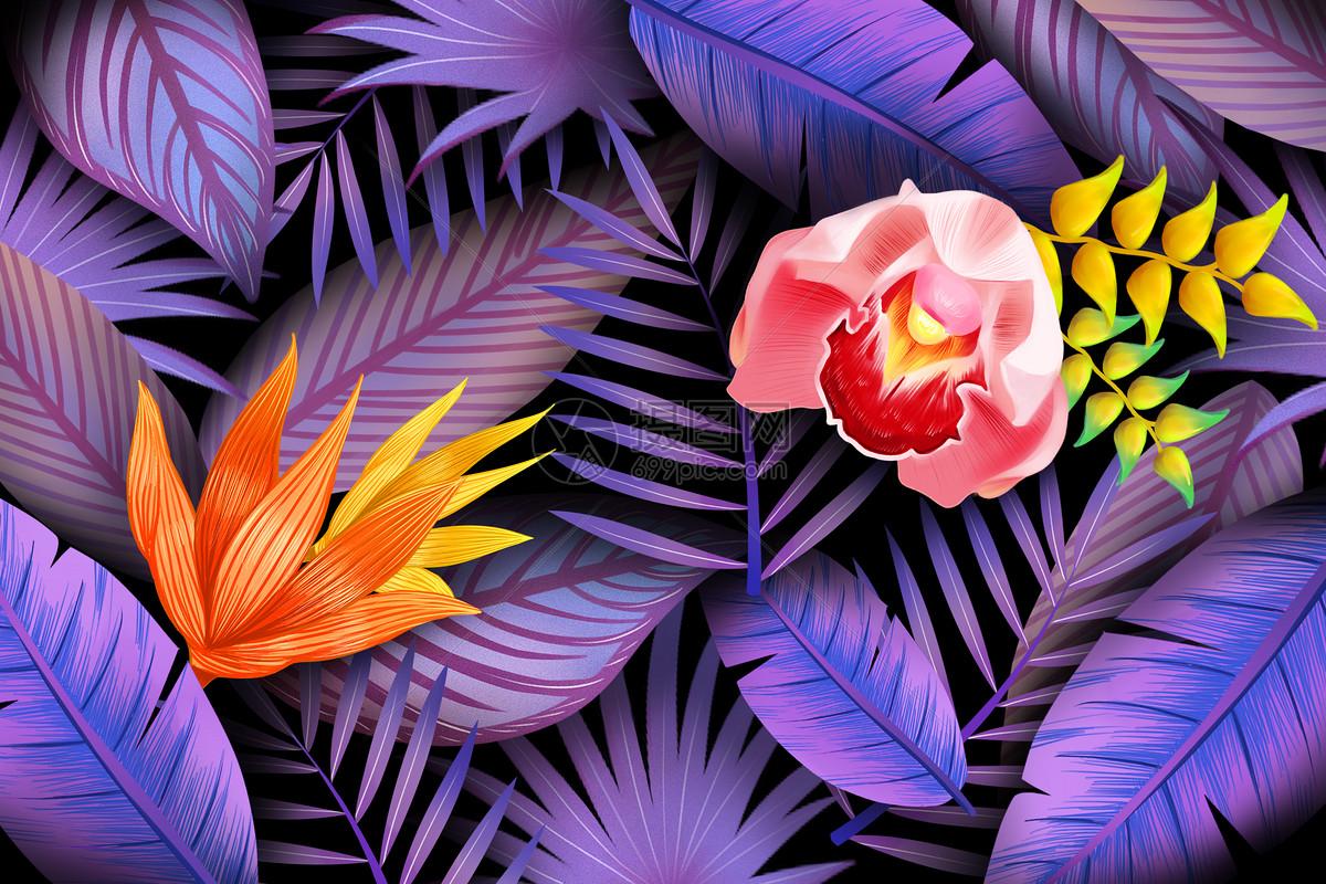 蓝紫圆珠笔画动植物