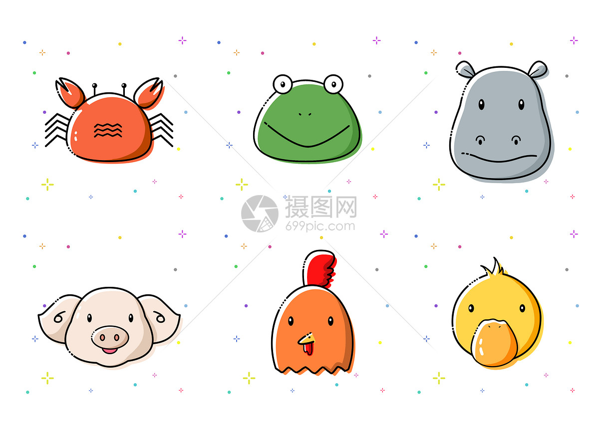 手绘mbe风格小动物图标图片素材_免费下载_psd图片