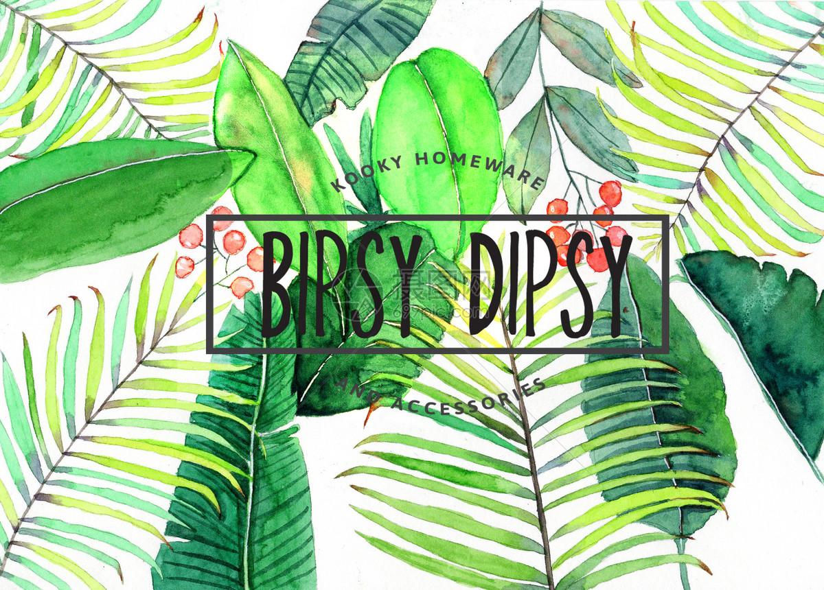 水彩手绘植物背景
