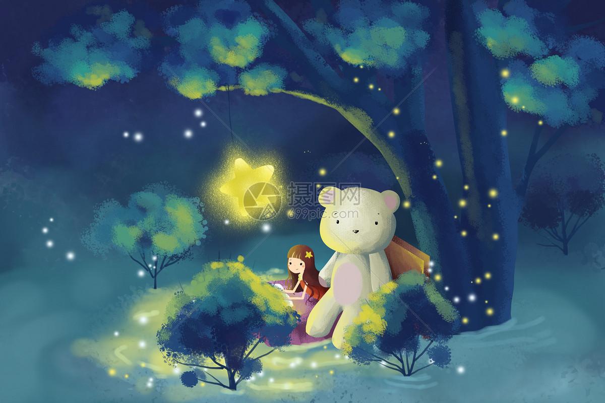 童夜晚的森林简笔画