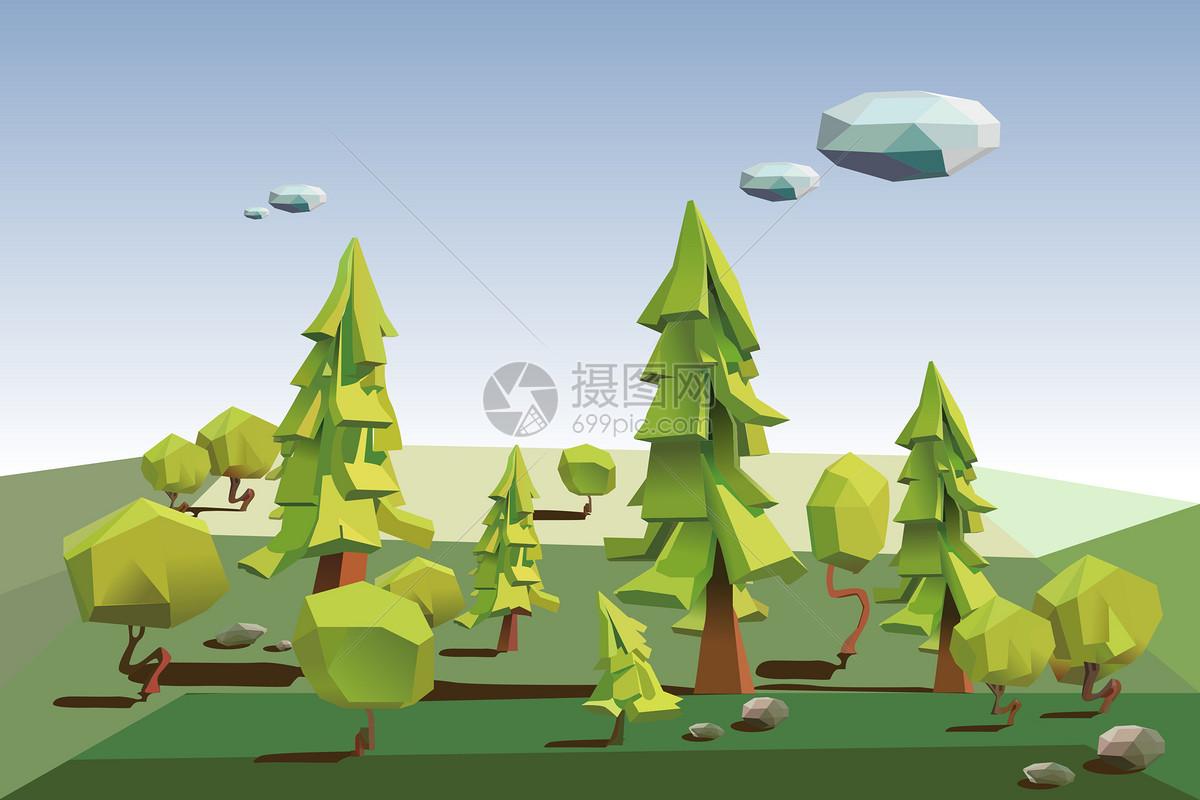 照片 背景素材 绿色低多边形森林,3d树的立体大自然ai  分享: qq好友
