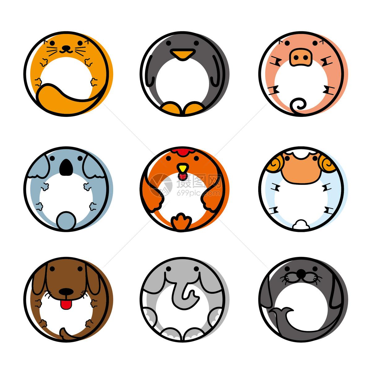 圆圆的动物图标mbe