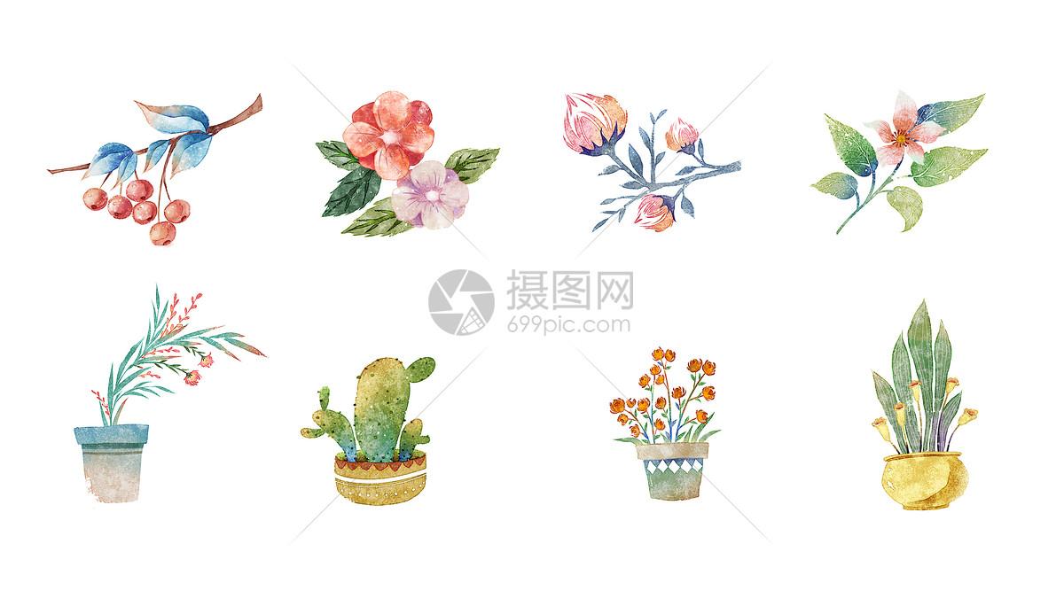 小清新水彩植物素材图片素材_免费下载_psd图片格式_vrf高清图片