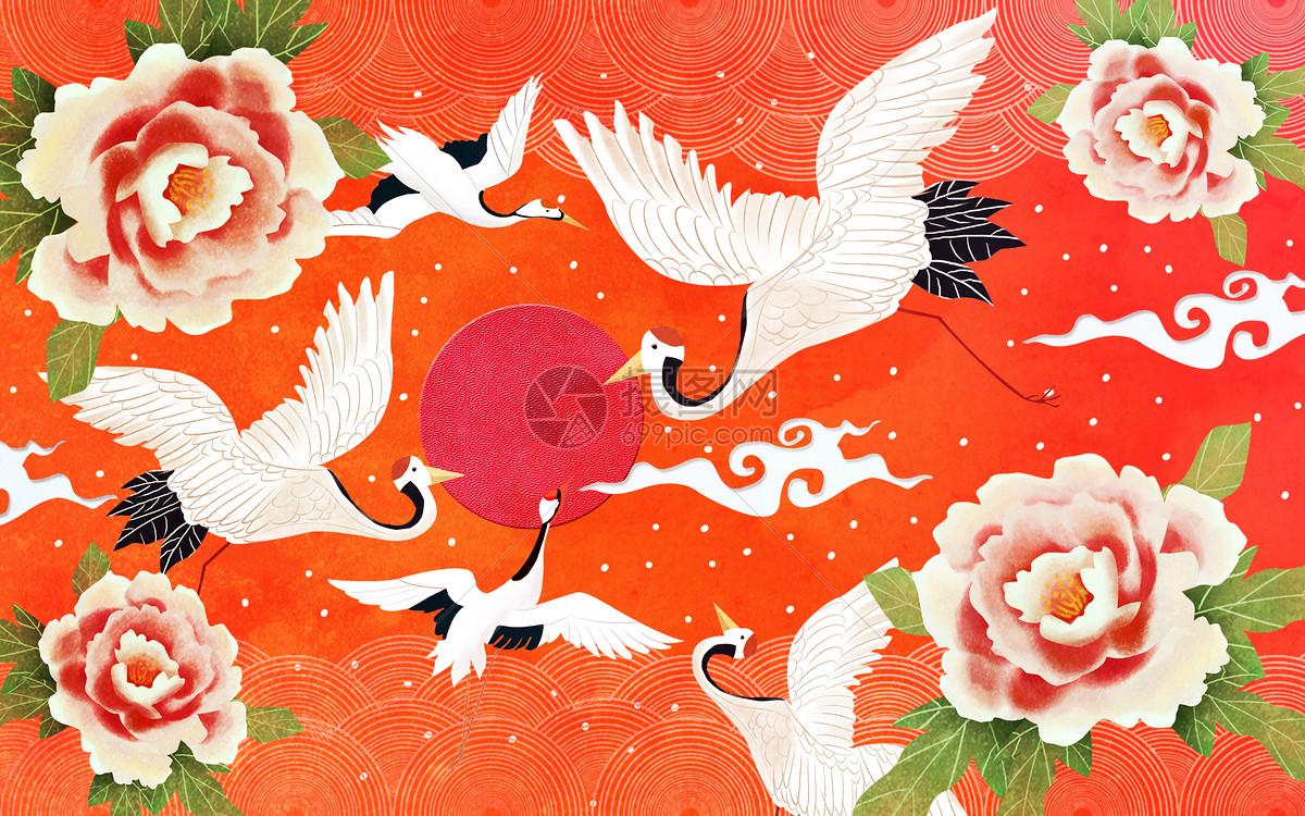 牡丹仙鹤图