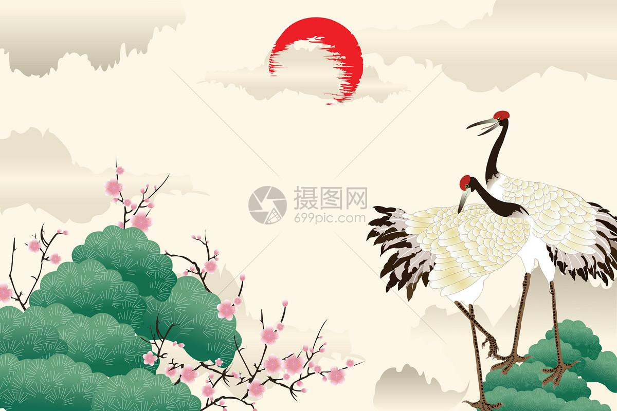 矢量图禅意矢量图水墨画静谧古风日系安静中式中国风丹顶鹤仙鹤古风