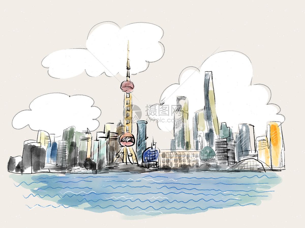 上海地标涂鸦手绘