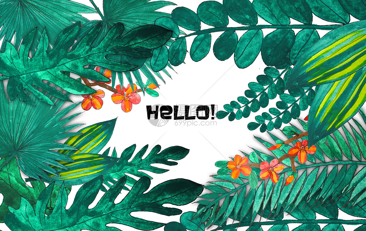 背景素材 手绘水彩热带植物psd  152万张正版高清图片和插画给你创意