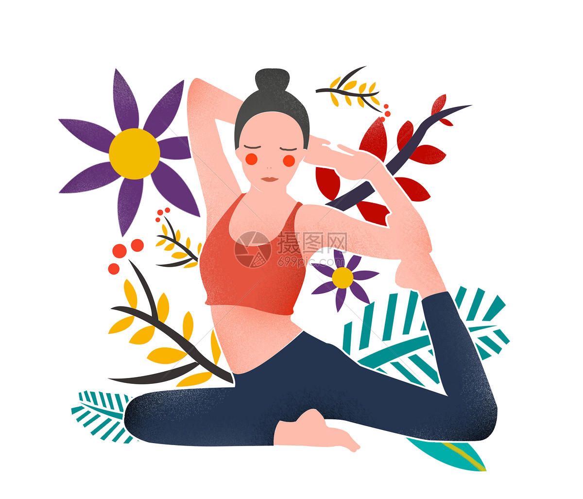瑜伽手绘卡通图