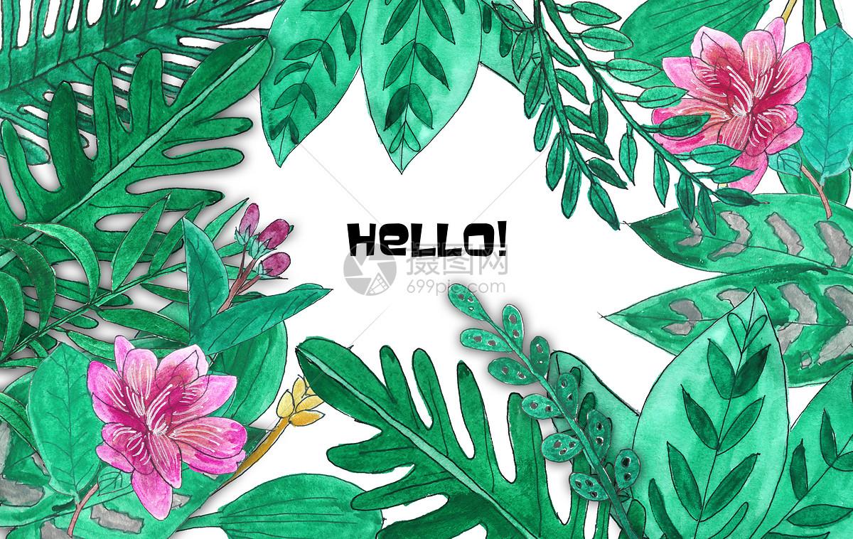 手绘水彩热带植物