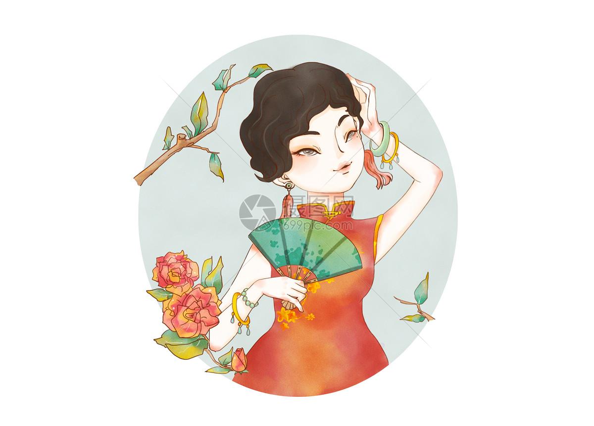 旗袍美人手绘插画唯美