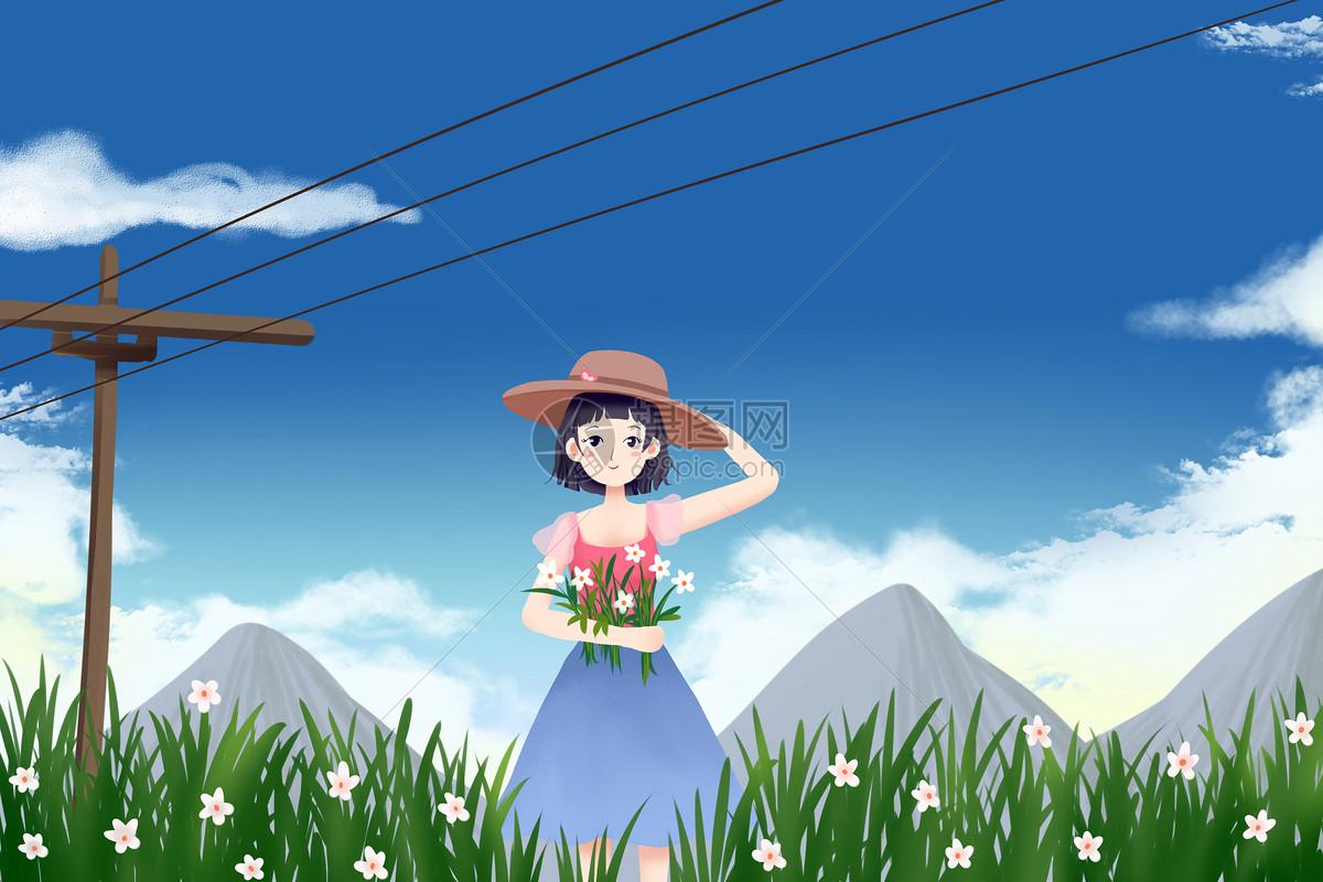 花丛中的女孩