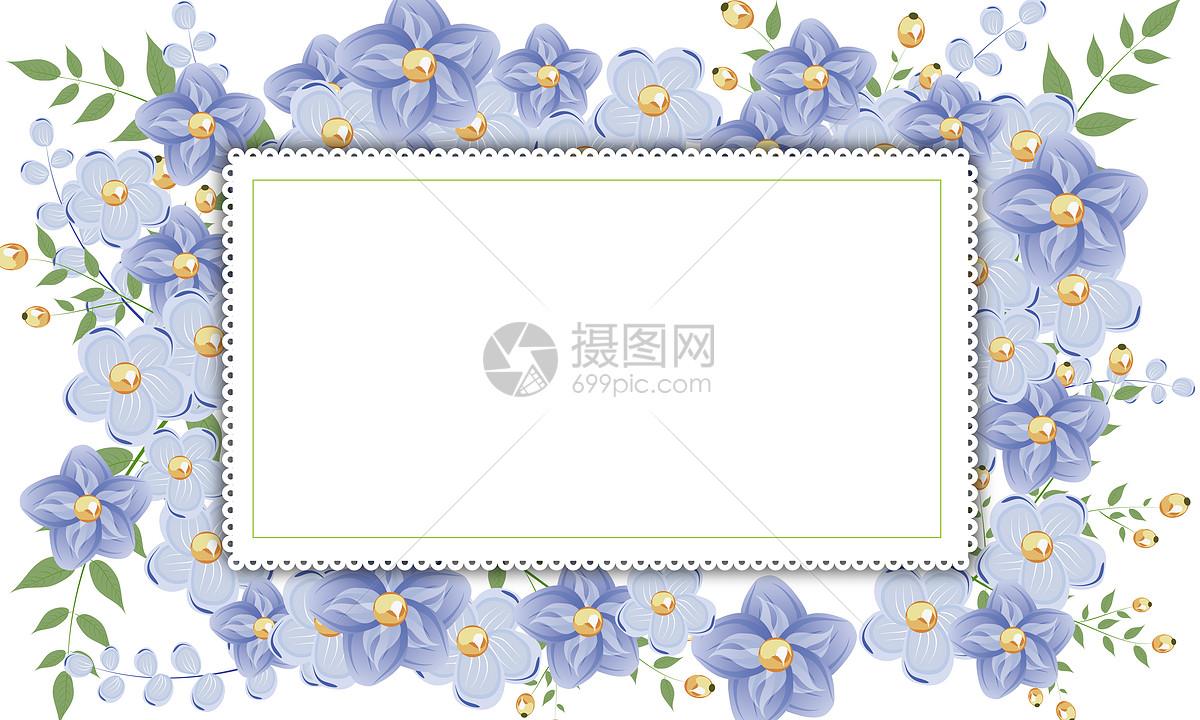 紫色小花边框背景
