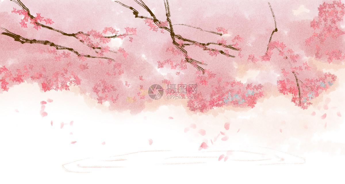 手绘中国风樱花唯美背景