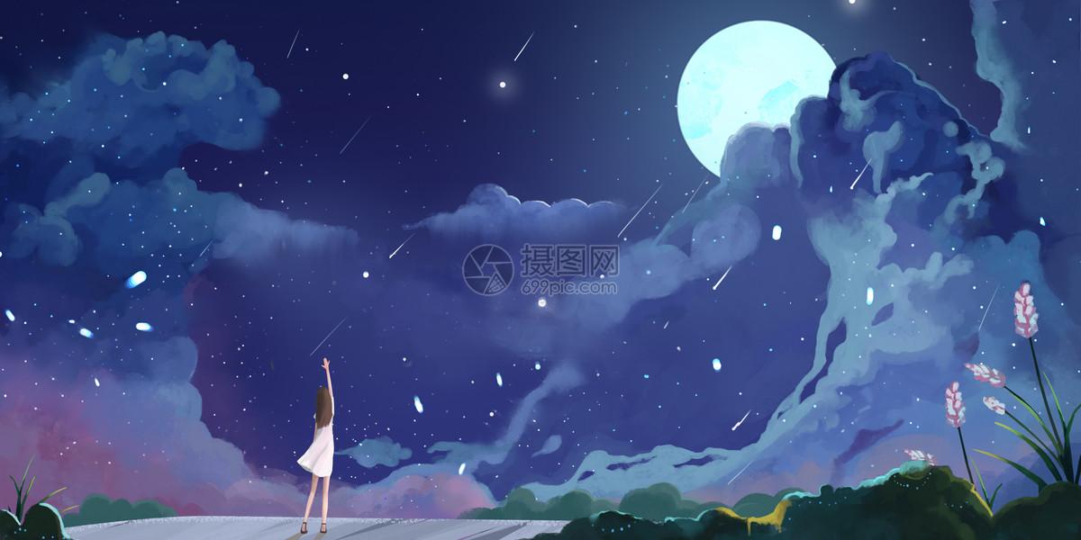流星雨插画图片