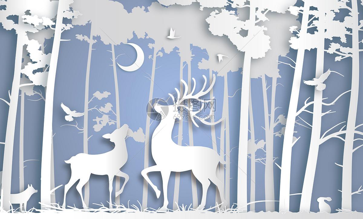 剪纸风森林鹿图片素材_免费下载_eps图片格式_vrf高清