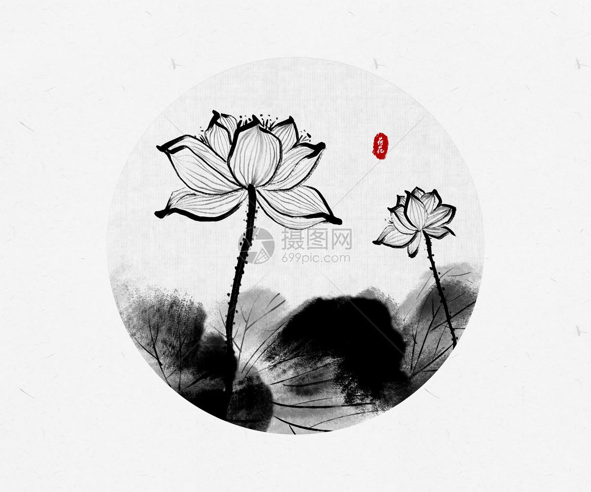 荷花中国风水墨画图片素材_免费下载_psd图片格式_vrf