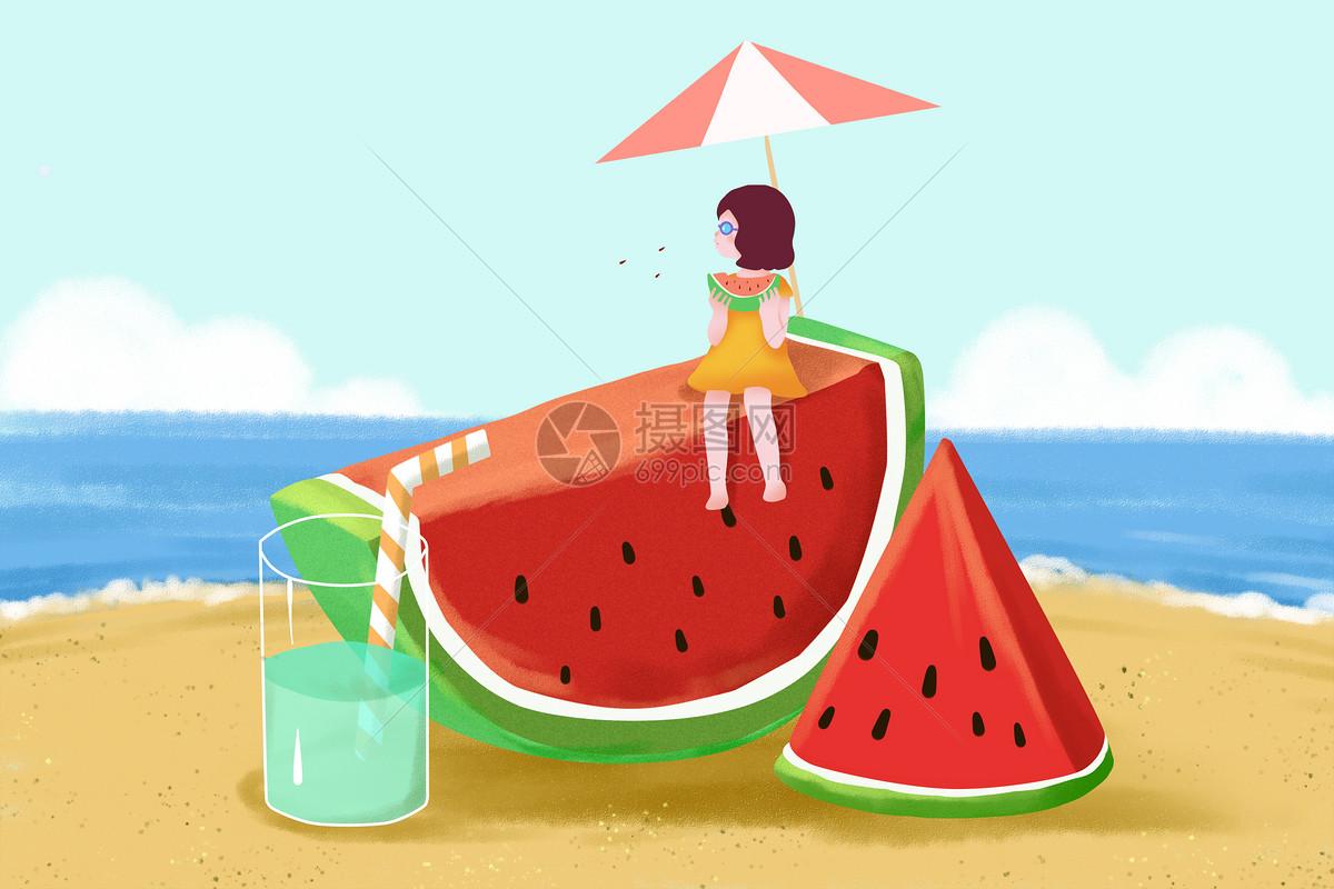 夏至 唯美夏天插画图片