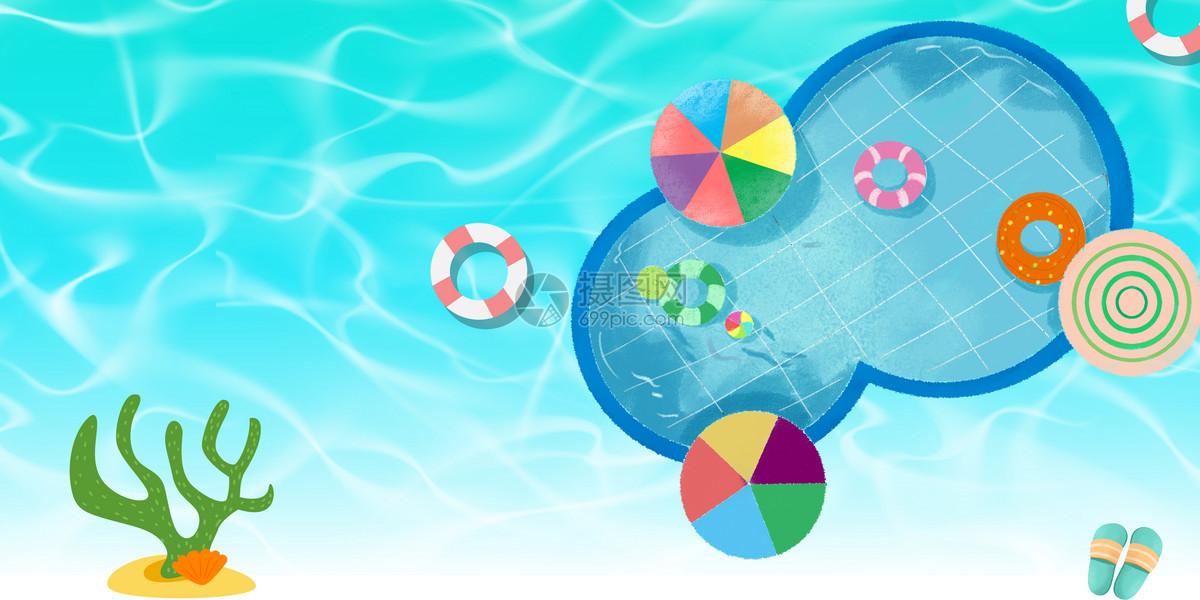 炎热夏日泳池游泳清凉背景