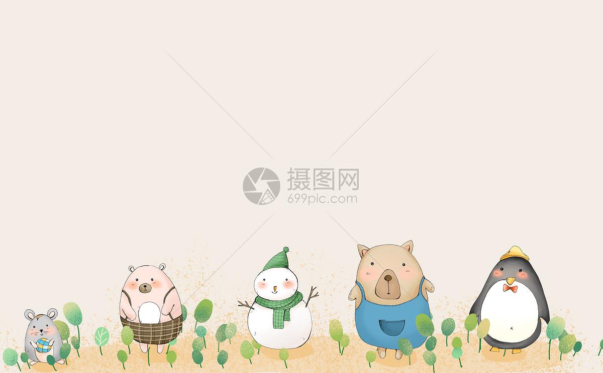标签: 二分之一留白动物素材动物背景插画卡通可爱小动物小清新背景小