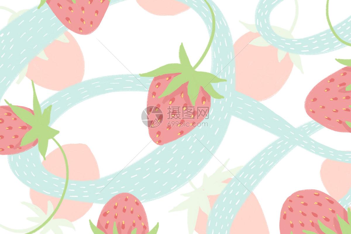 小清新草莓背景