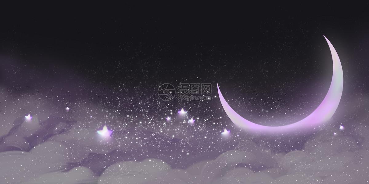 梦幻唯美星星月亮云层背景