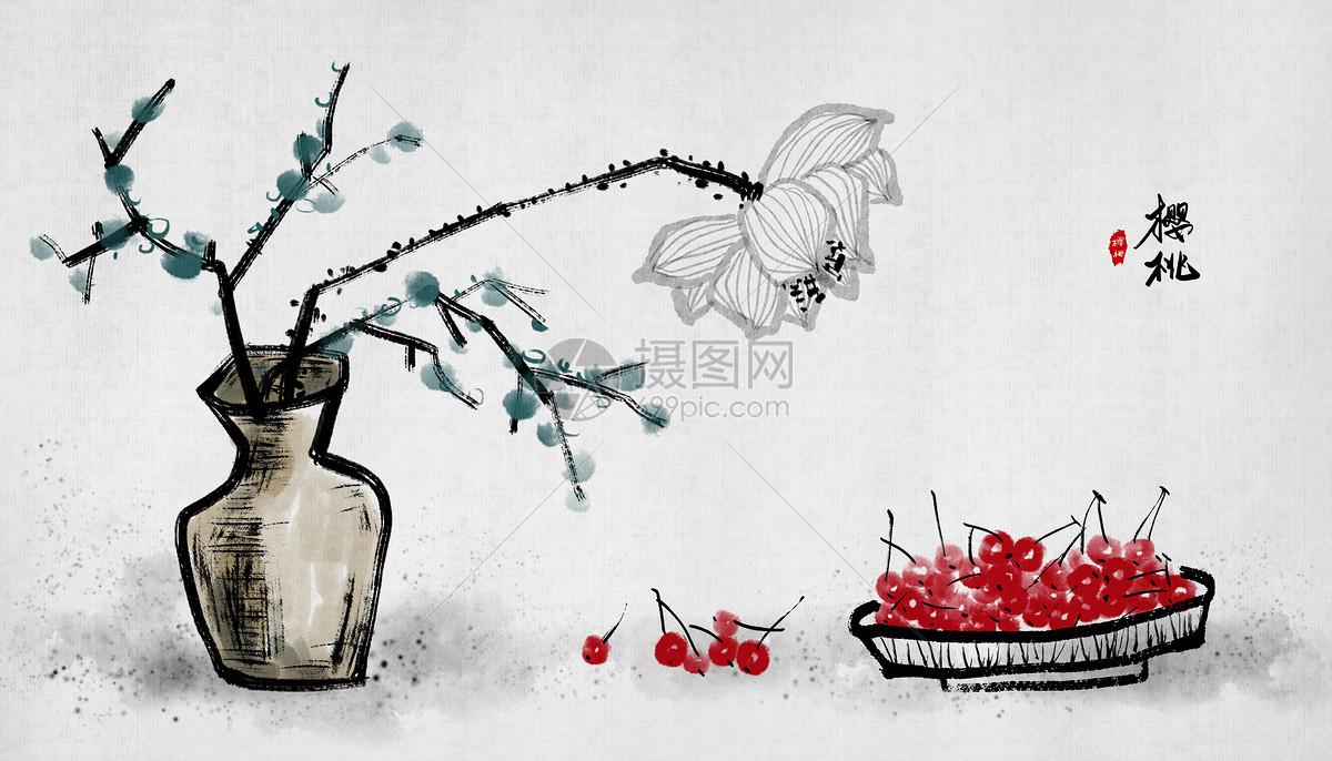 樱桃荷花中国风水墨画