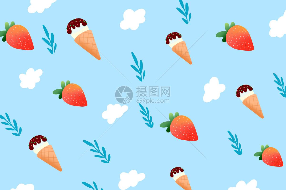 夏季雪糕水果背景图片