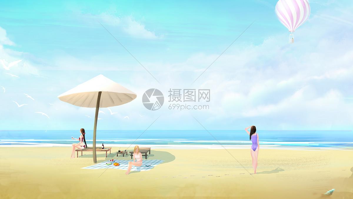 夏日里的太阳伞图片