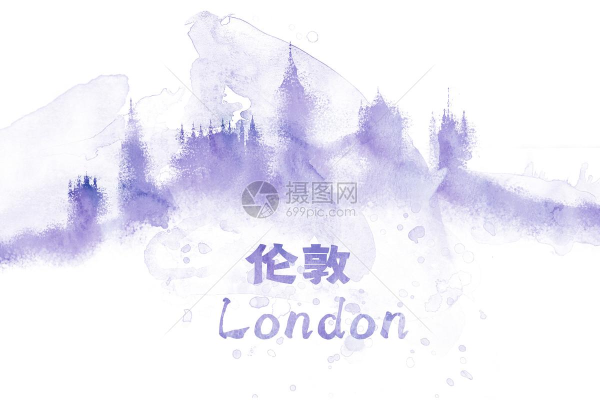 伦敦水彩插画城市图片