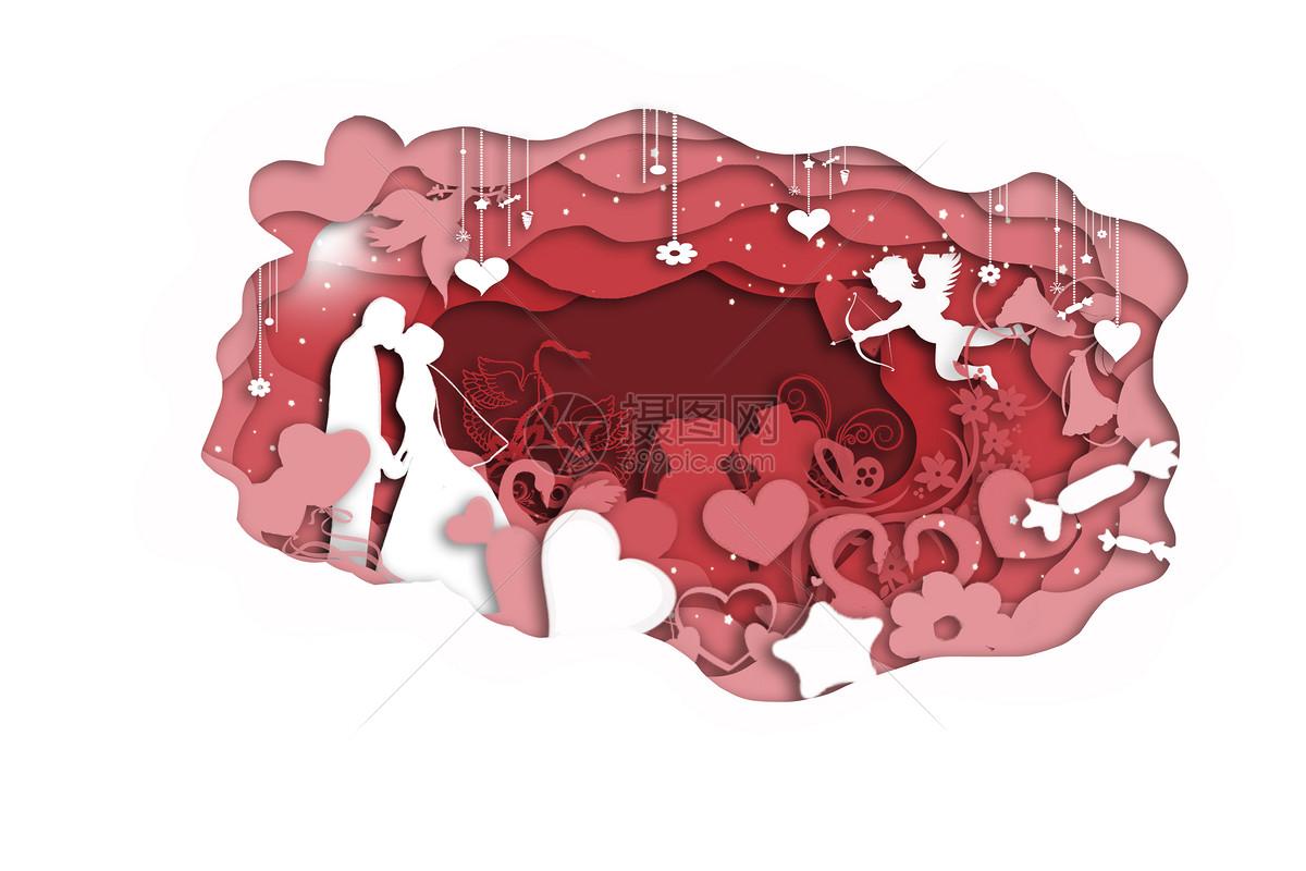 立体剪纸爱情图案图片