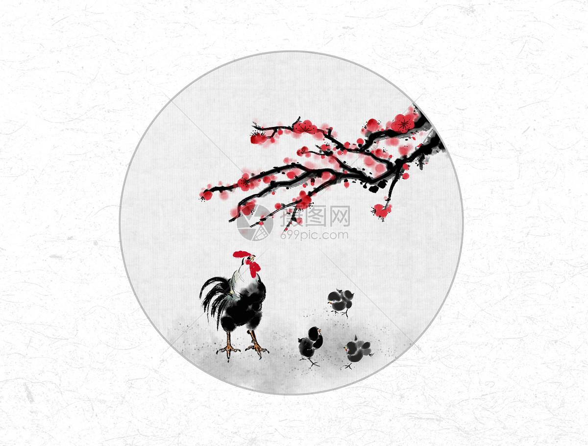 梅花和鸡中国风水墨画图片