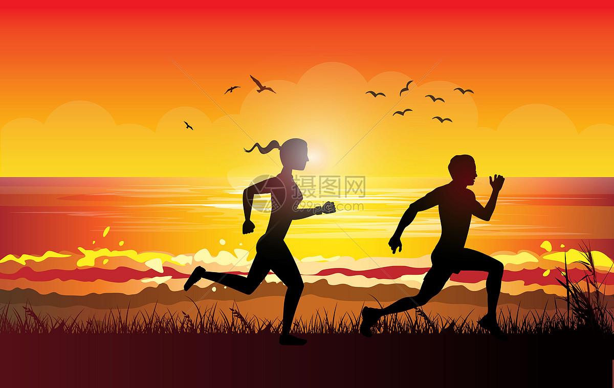 海边跑步图片