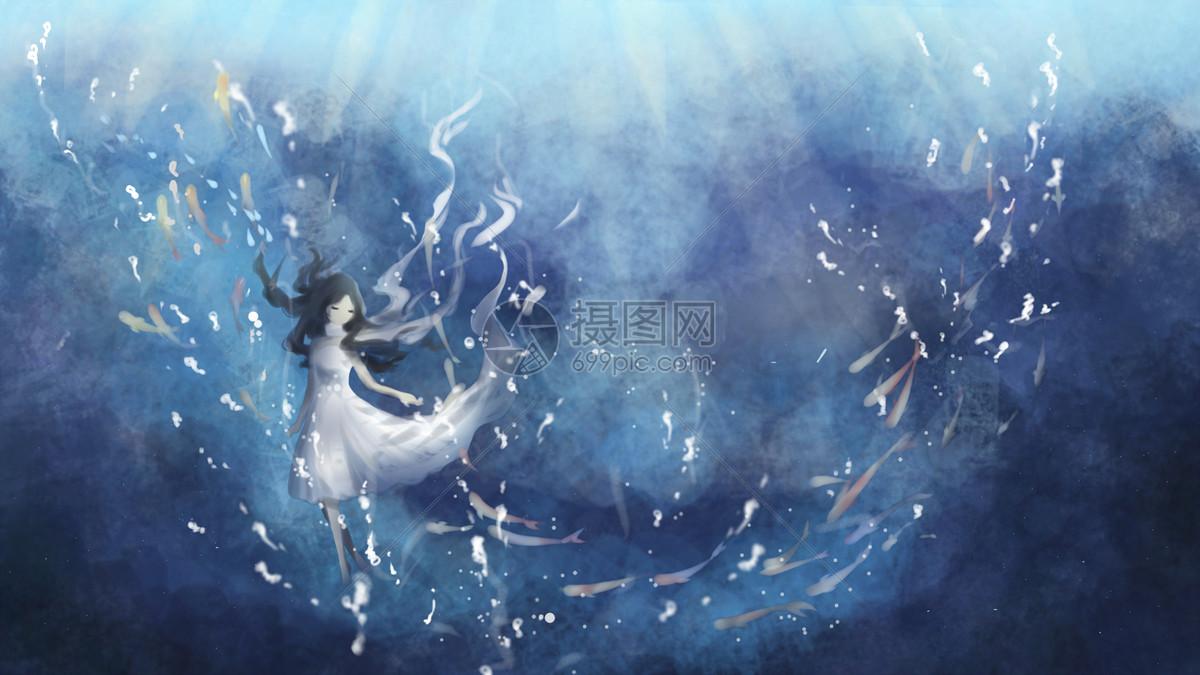 深海中的女孩图片
