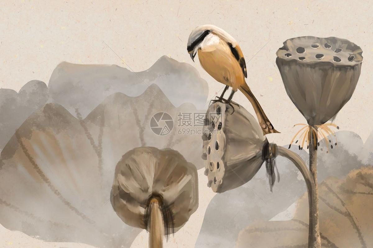 中国风水墨荷花图片