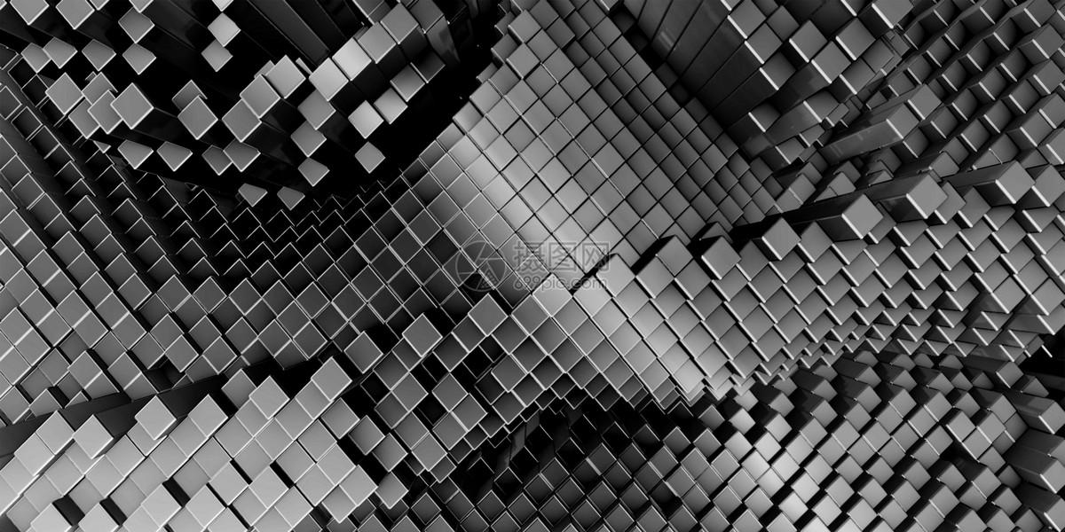 黑色立体几何商务背景图片