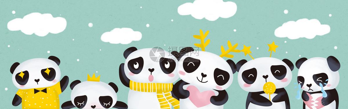 手绘卡通熊猫