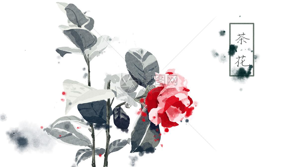 中国风手绘茶花插画图片素材_免费下载_psd图片格式