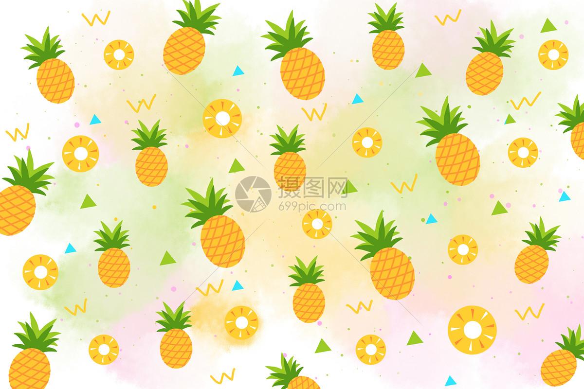 夏天菠萝手绘插画背景