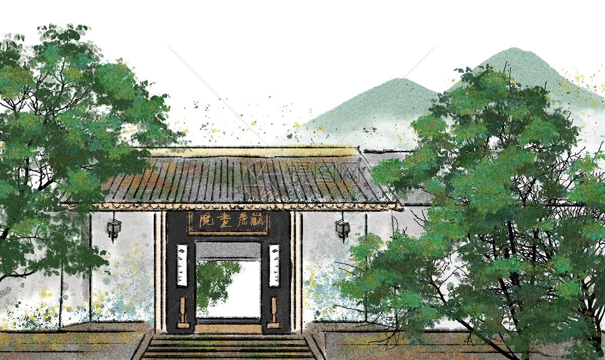 岳麓书院水墨画图片