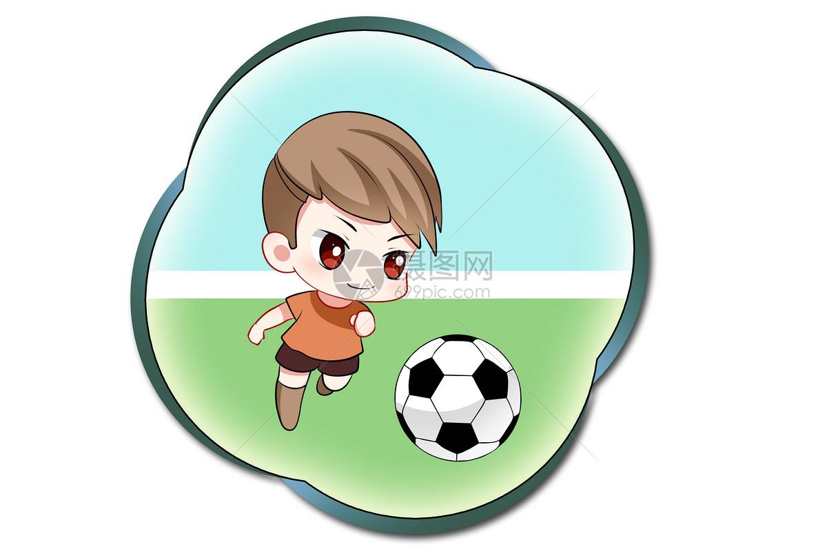 可爱手绘卡通足球男孩